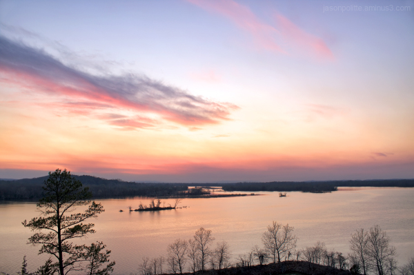 A pastel sunset over the Arkansas River