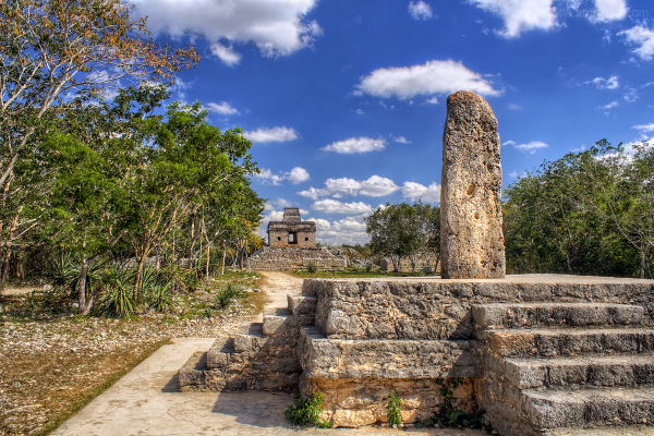 Mayan Stela and Temple at Dzibilchaltun