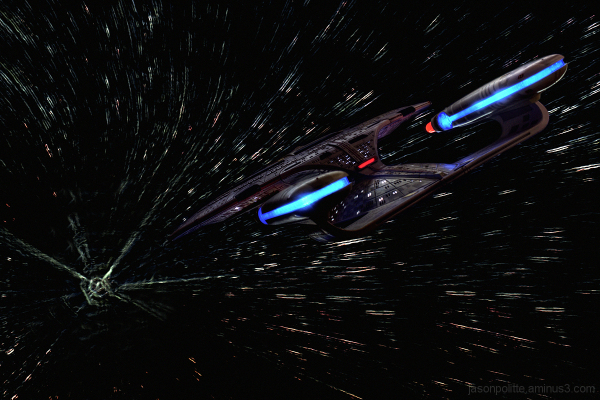 The Enterprise-D ventures toward a wormhole.