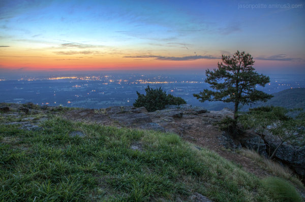 City lights from Mt. Nebo State Park, Arkansas