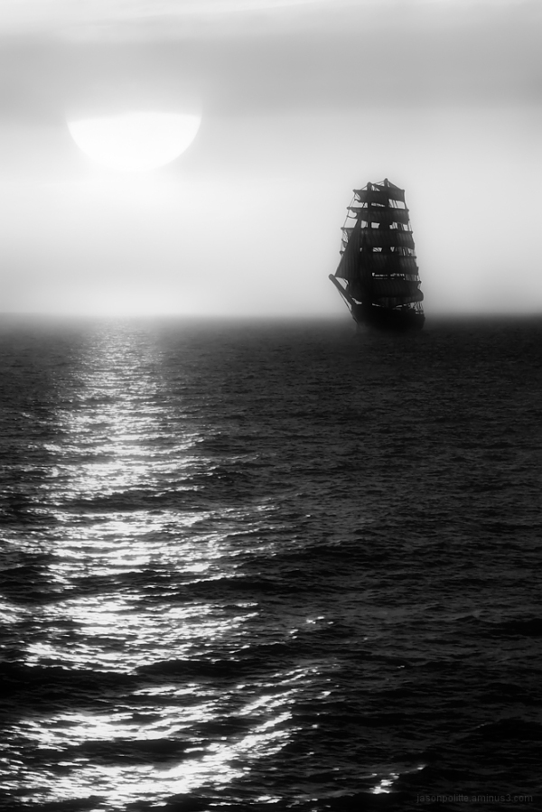 The Gorch Fock sails out of the fog - monochrome