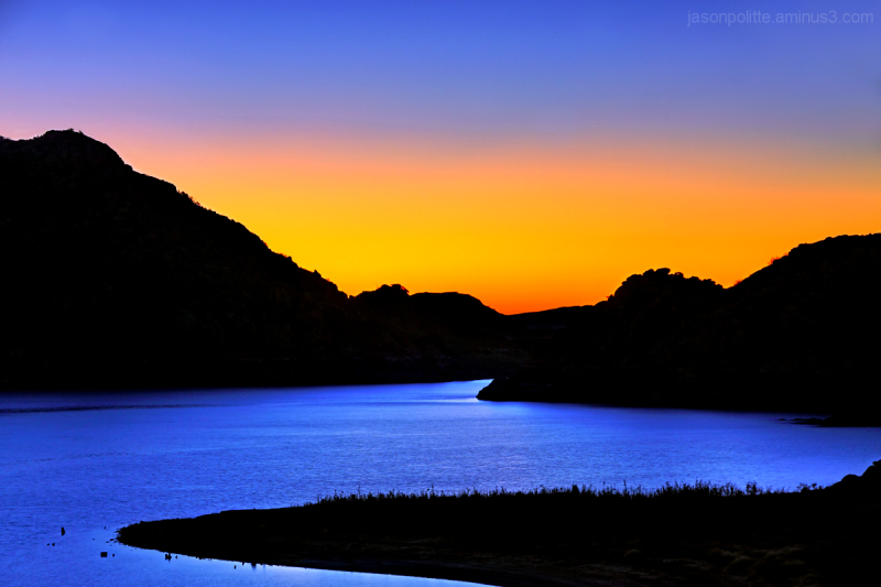 Looking through the Quartz Mountains at sunrise