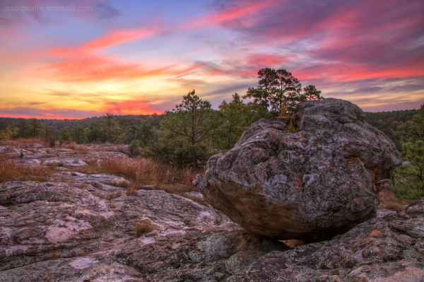 Boulder On Turtle Rocks - Petit Jean - Arkansas