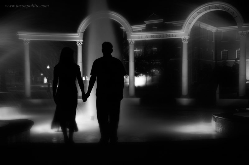 Young couple with fountain at UCA