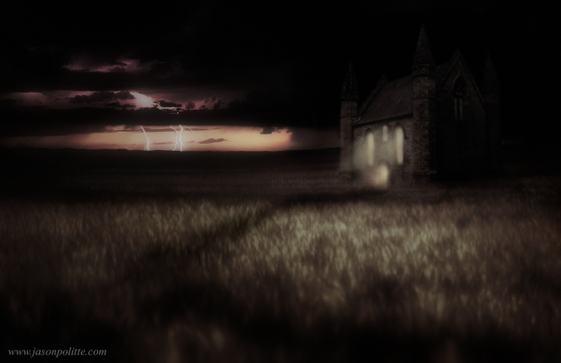 Spooky chapel with thunderstorm in Kansas