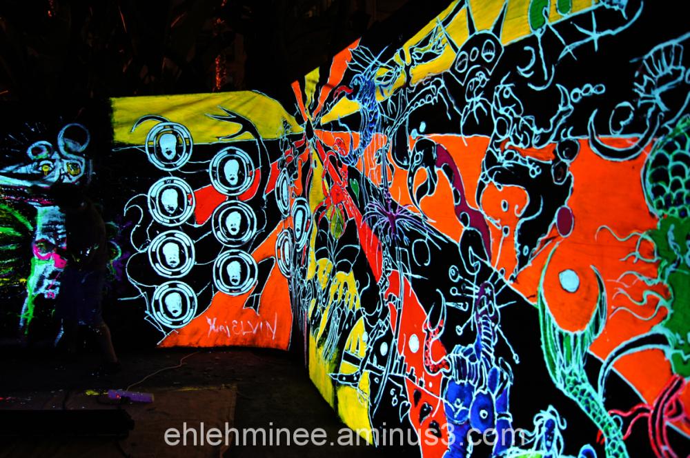 Neon black light art mural