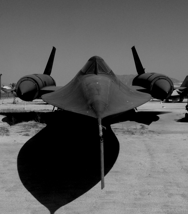 Spy plane in black and white