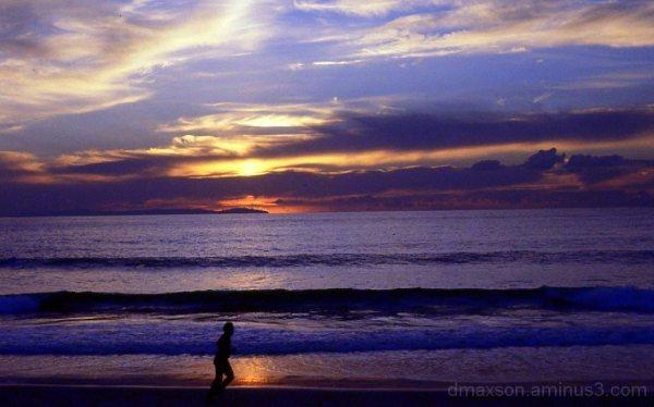 Runner against sunset