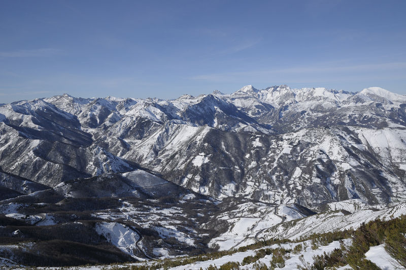 Wintery view of Pajares area. Leon-Asturias. Spain