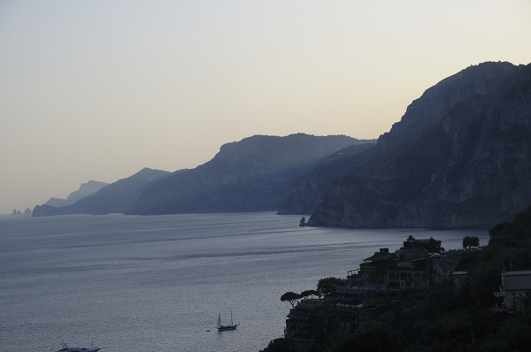 Sunset over Amalfi coast