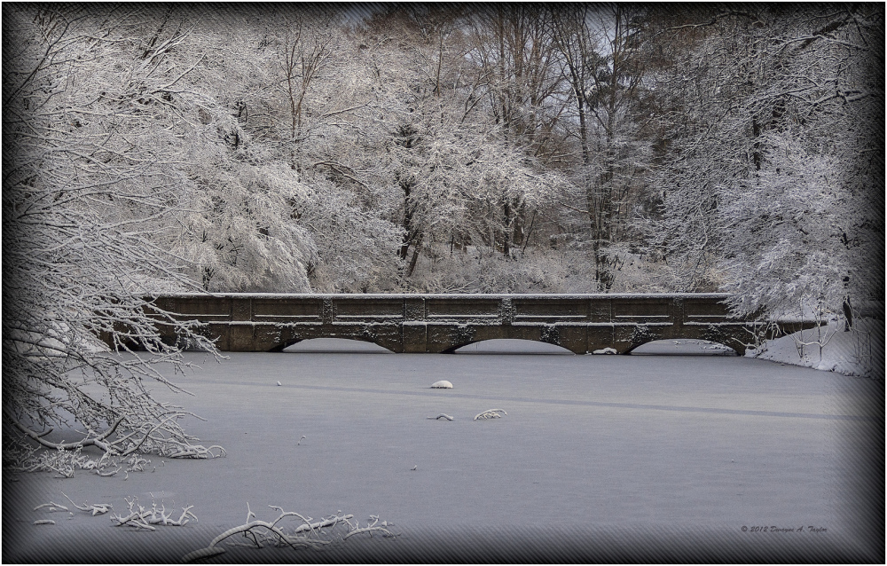 The Bridge at Salems Greenlawn Cemetery after snow