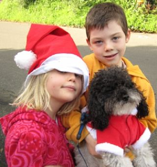 cutes kids, cute dog, Christmas outfits in Marin