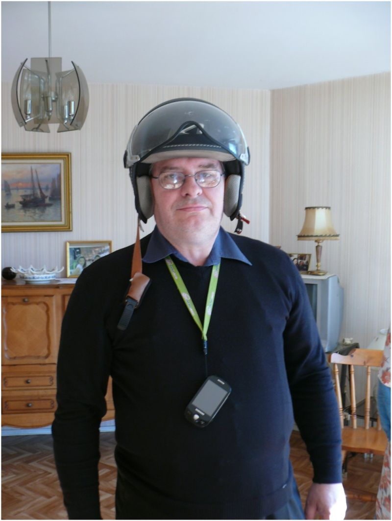 Man with a helmet