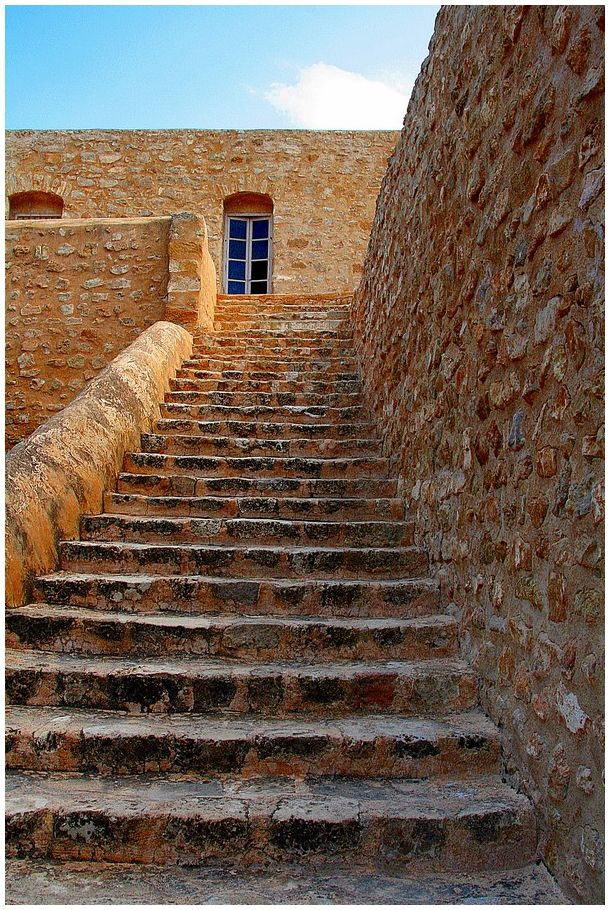 Spanish stairs in the old city of Hammamet