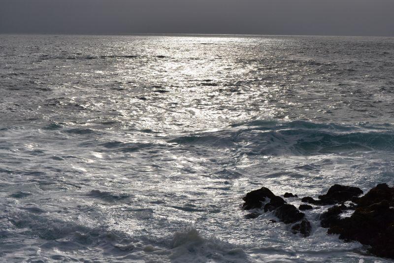 Cloudy sun set along over the ocean