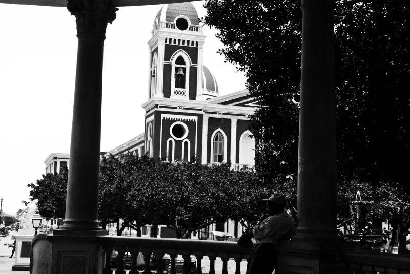 Granada, Nicaragua black and white church yellow
