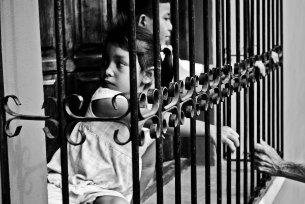 Look black and white children Nicaragua