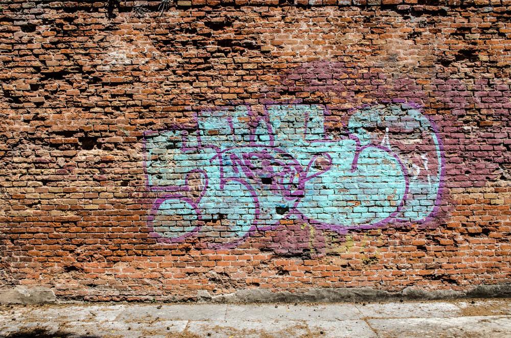 Blue on brick
