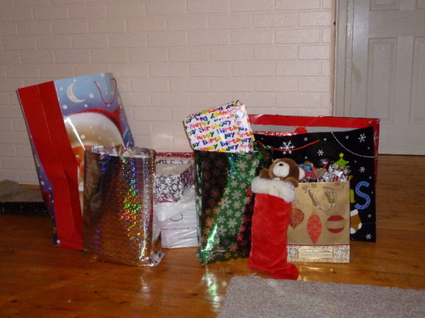 Christmas presents all wrapped and ready to go