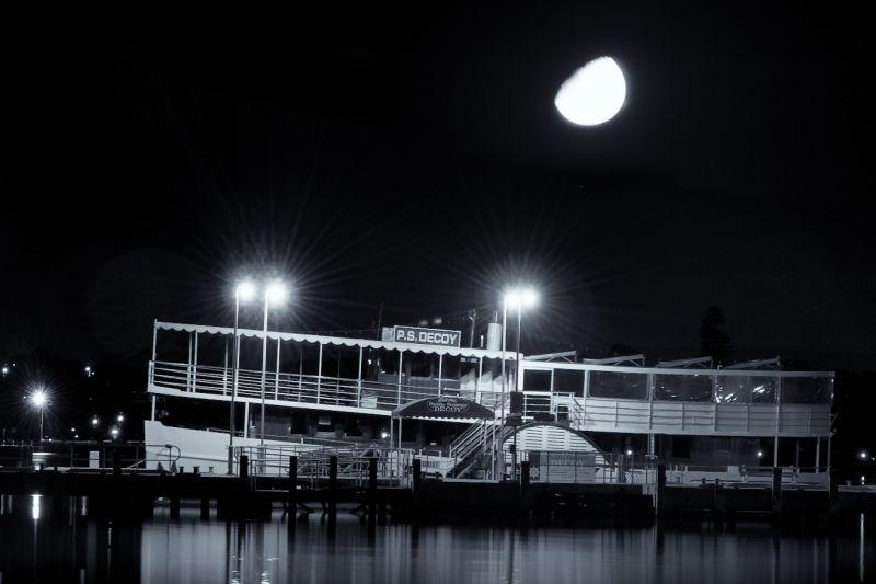 Paddleship Decoy under a waning moon