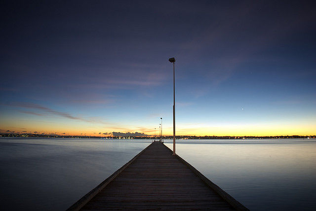 Sunset over a jetty