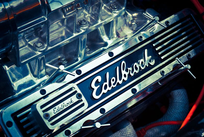 Close-up of a Edelbrock engine