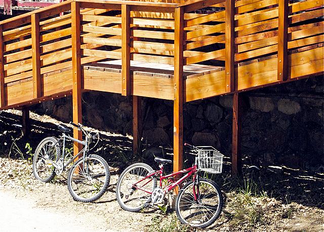 Bicycles along river walk in Prescott