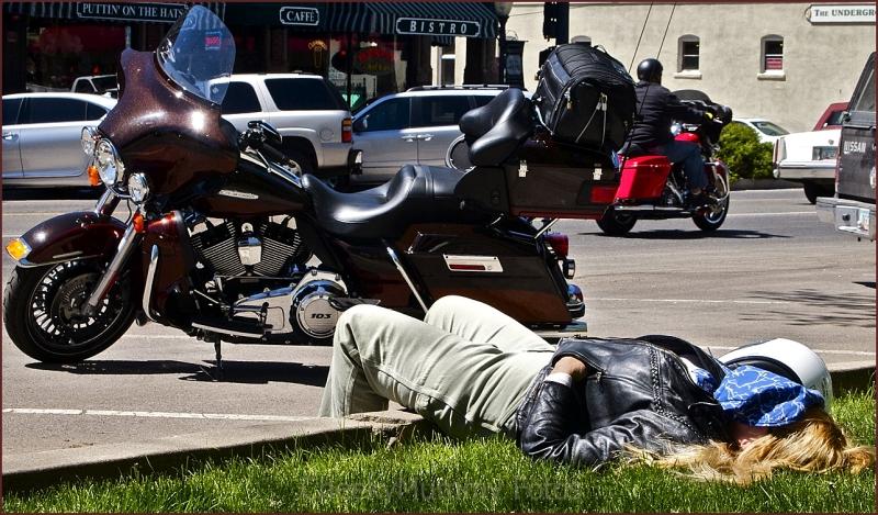 Biker taking a nap