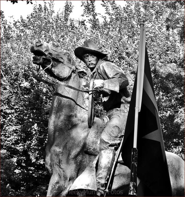 Statue of horseman in Prescott Square