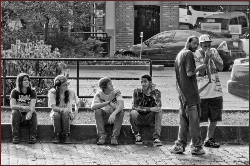 Youth chilling in Prescott Square