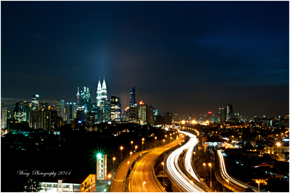 Night view of the city center of KL