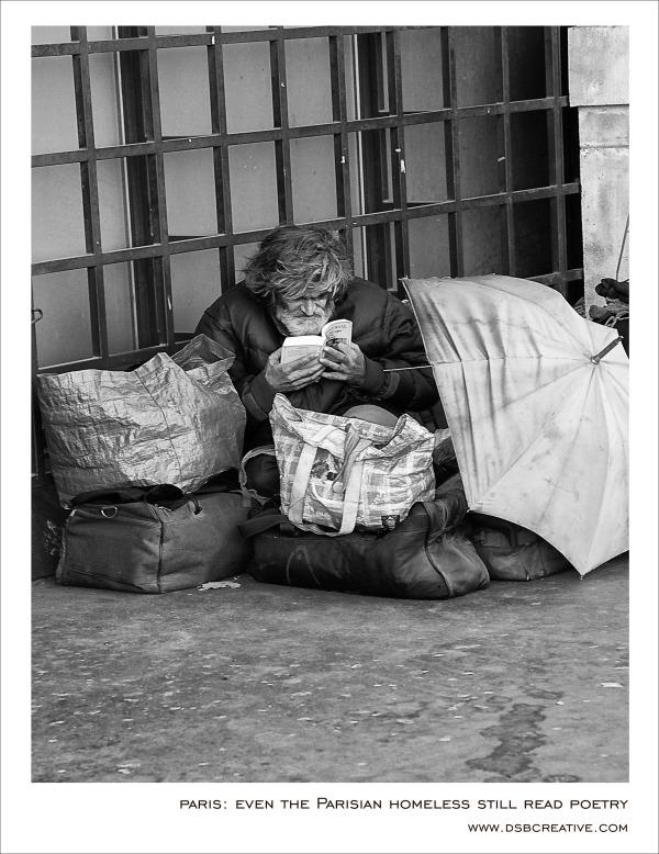 Parisian homeless reading Poetry