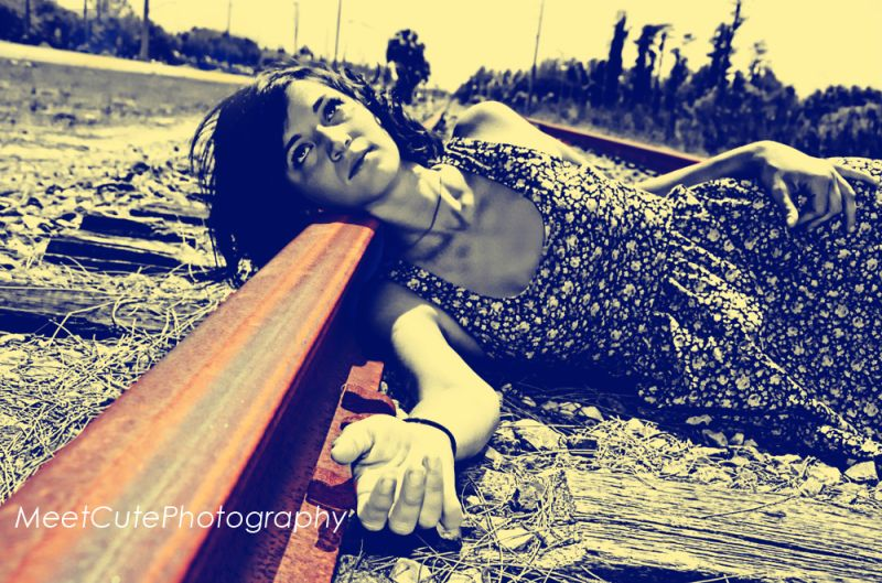 Vintage Girl Laying on Train Tracks in Lutz, FL