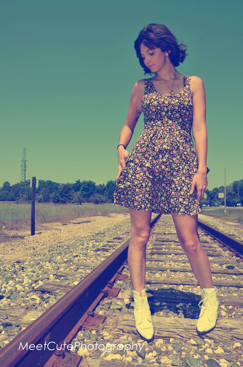 Vintage Girl on Train Tracks
