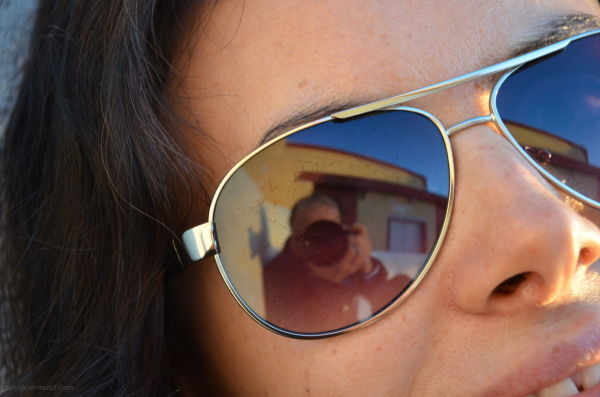 Reflection of my image on Ramona's sunglasses