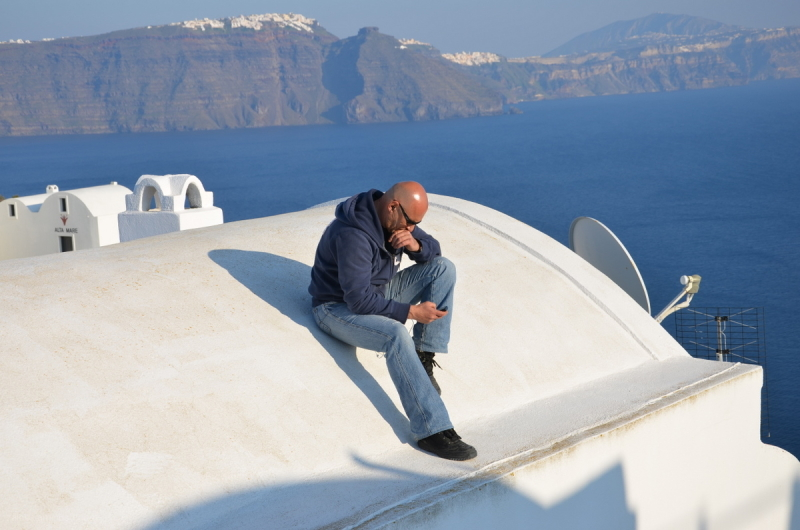 Lost in his thoughts over the Santorini caldera