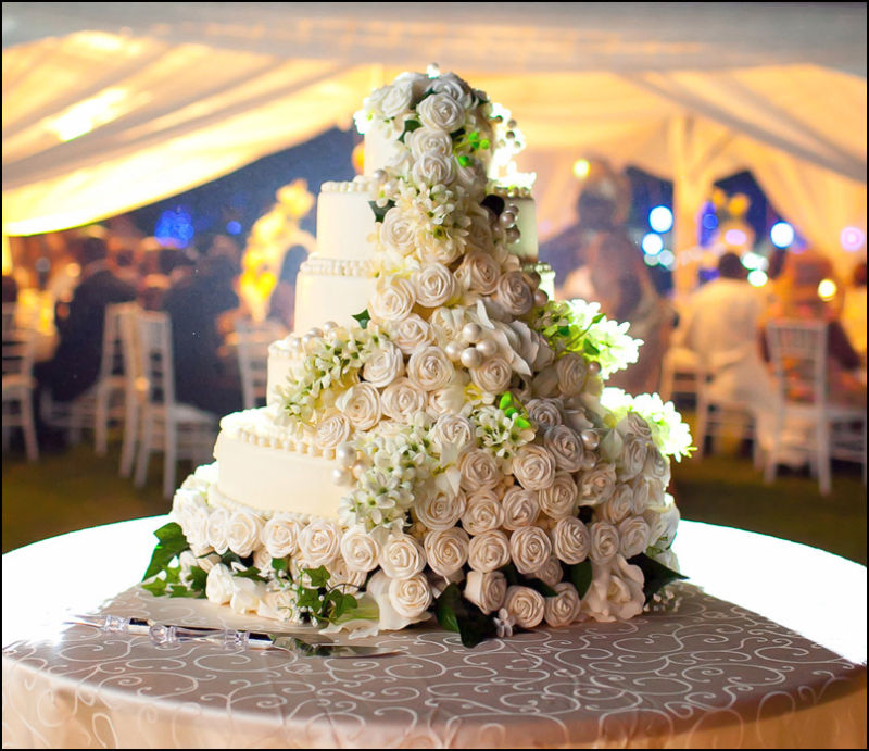 Evening wedding reception cake at Wedding in Accra
