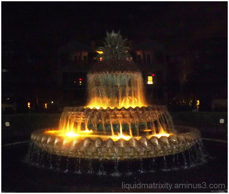 Pineapple Fountain After Dark