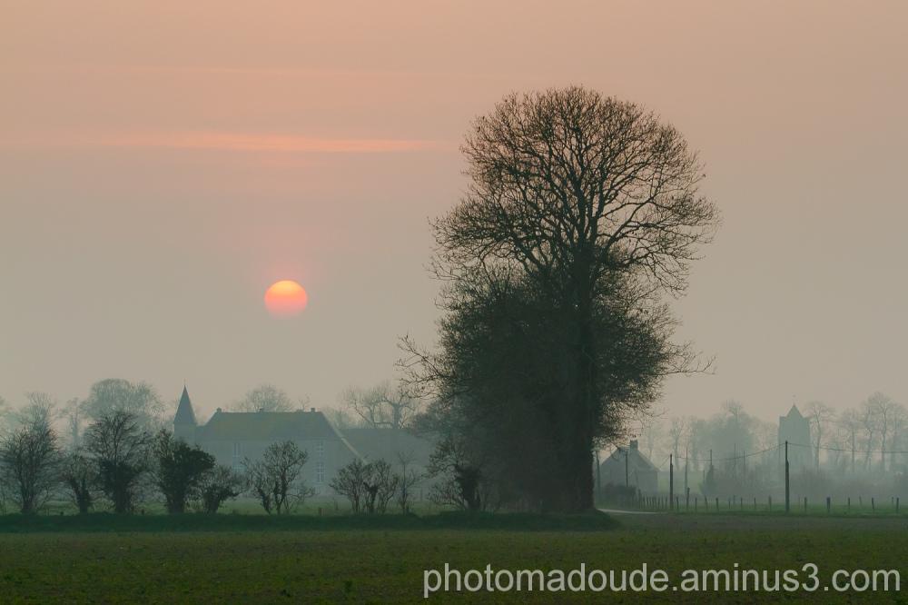 Normandie, couché de soleil, brume,