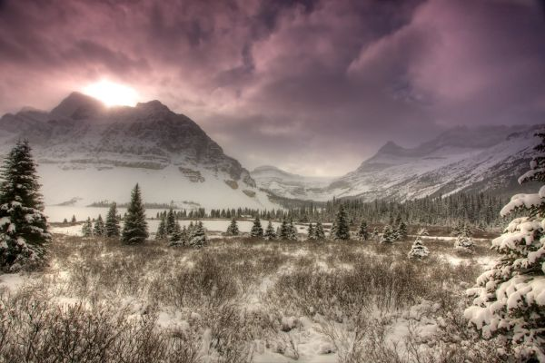 Moody, mountain, overcast, winter, snow