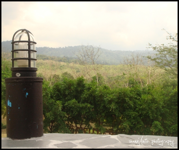 the lamp and mountain view