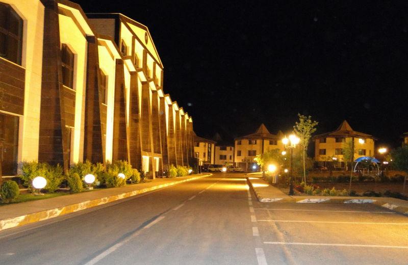 paramida hotel at night.Shahroud