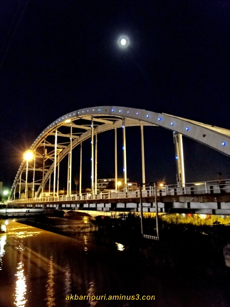 Babolsar bridge at night