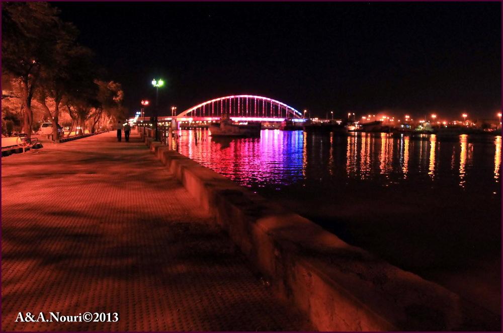 Khoram shahr bridge at night