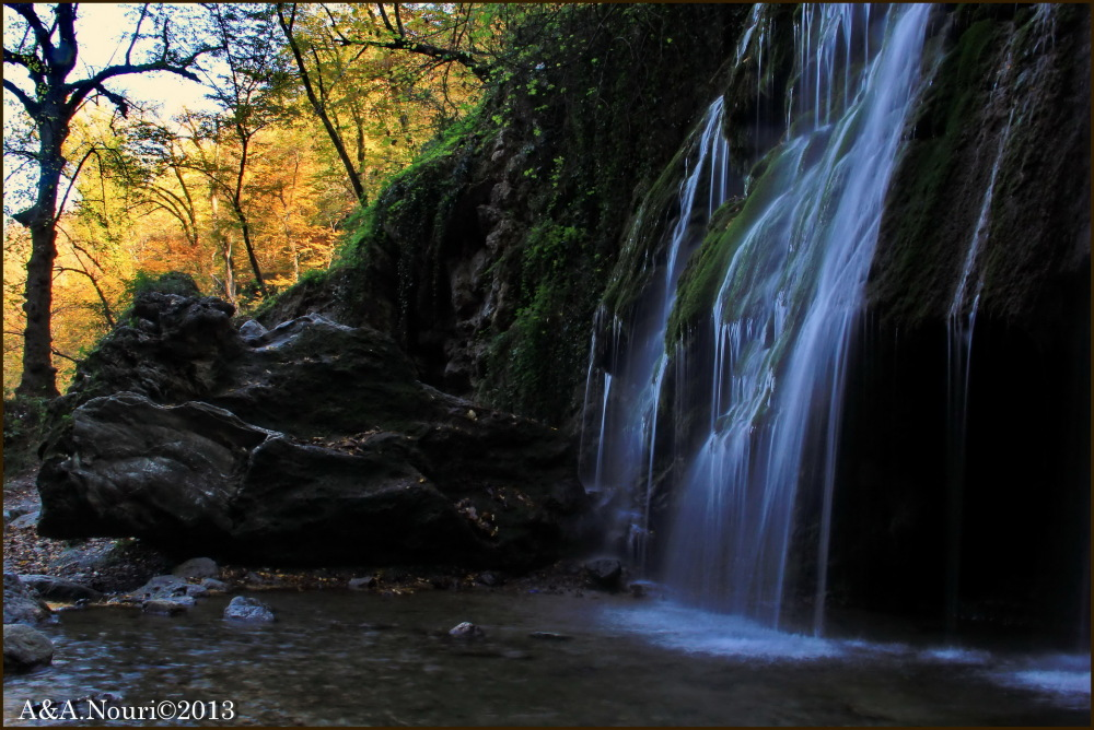 Waterfall and autumn
