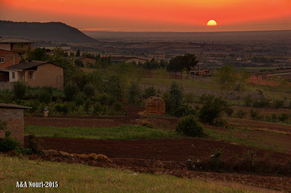 sunset of the countryside