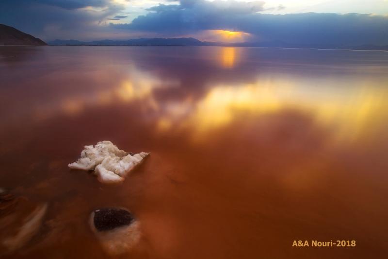 sunset on the urmia salt lake
