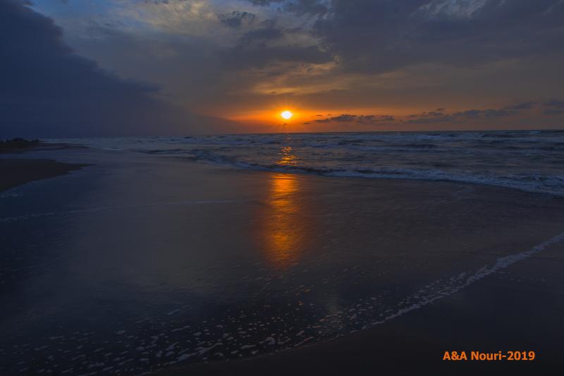 caspian beach sunset