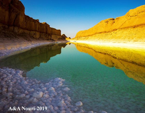 salty lake in the desert