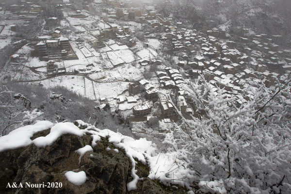 snowy  view of the village